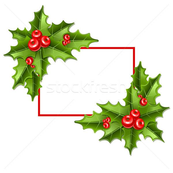 Weihnachten Mistel Rahmen isoliert weiß Blatt Stock foto © sonia_ai