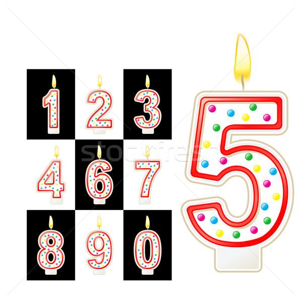 Bougies d'anniversaire nombre rouge isolé blanche noir Photo stock © sonia_ai