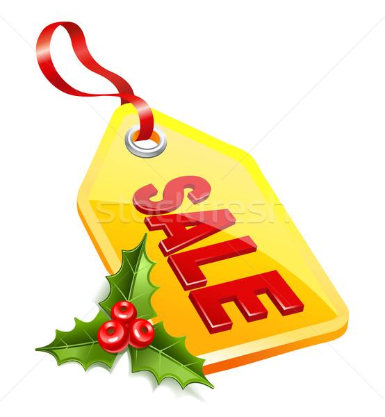 Label Рождества продажи омела белая икона бумаги Сток-фото © sonia_ai