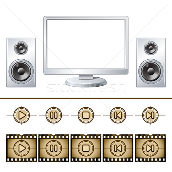 Computer  with speaker isolated. Media buttons Stock photo © sonia_ai