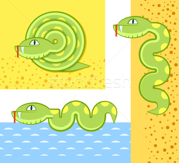 Сток-фото: зеленый · змеи · Cartoon · морем · природы · фон