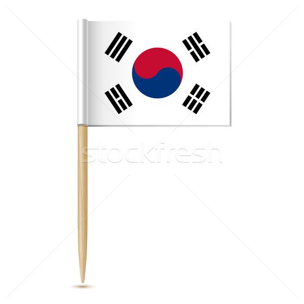 республика флаг Южная Корея бумаги карта дизайна Сток-фото © sonia_ai