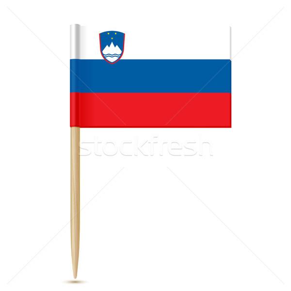 Словения флаг белый бумаги древесины карта Сток-фото © sonia_ai