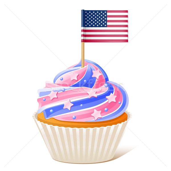 Fourth of July. American cupcake. Flag toothpick Stock photo © sonia_ai