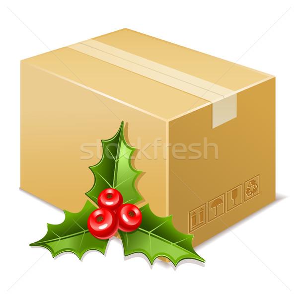 Natal caixa ícone visco papel assinar Foto stock © sonia_ai