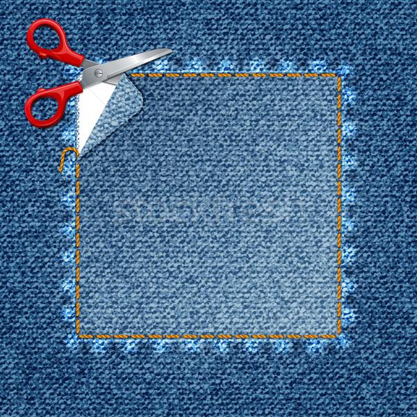 вектора джинсовой наклейку ножницы Cut джинсов Сток-фото © sonia_ai