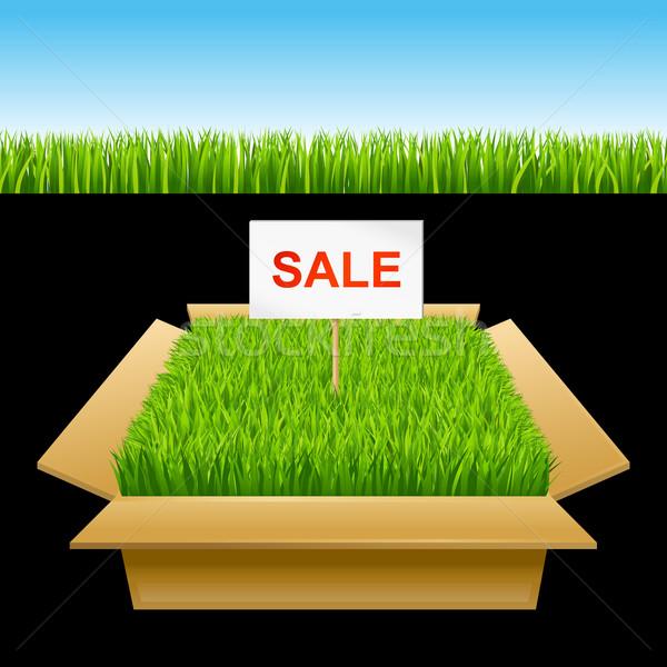 Open vak groen gras verkoop gras achtergrond Stockfoto © sonia_ai