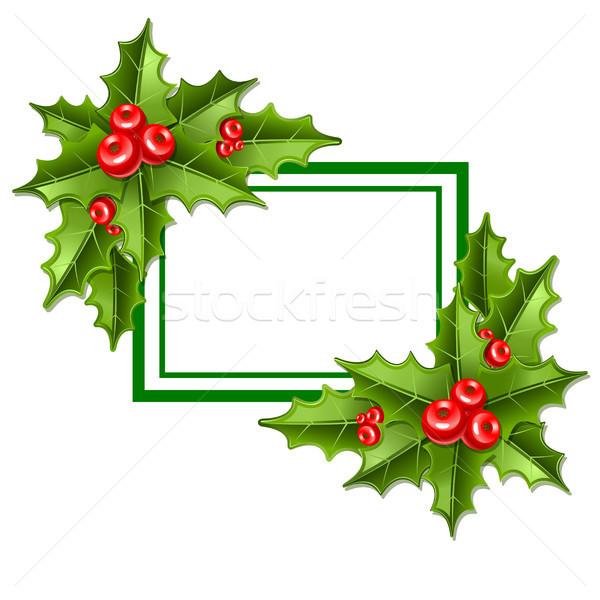 Rahmen Weihnachten Mistel isoliert weiß Blatt Stock foto © sonia_ai