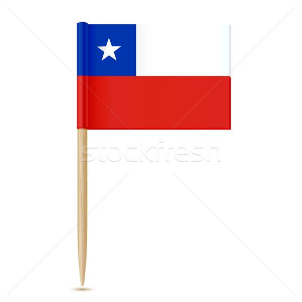 Chili vlag witte hout kaart star Stockfoto © sonia_ai