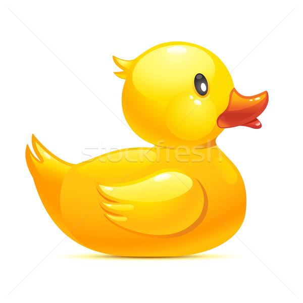 Gumi kacsa citromsárga ikon illusztráció víz Stock fotó © sonia_ai
