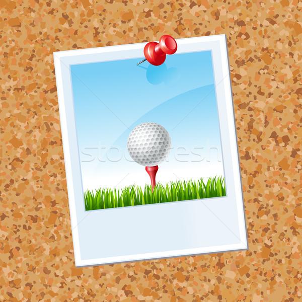 Tábla fotó golflabda papír golf keret Stock fotó © sonia_ai