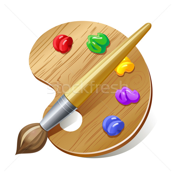 Stock photo: palette with brush