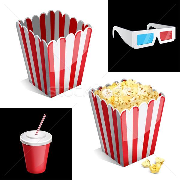 Popcorn polu cola okulary 3d ikona papieru Zdjęcia stock © sonia_ai