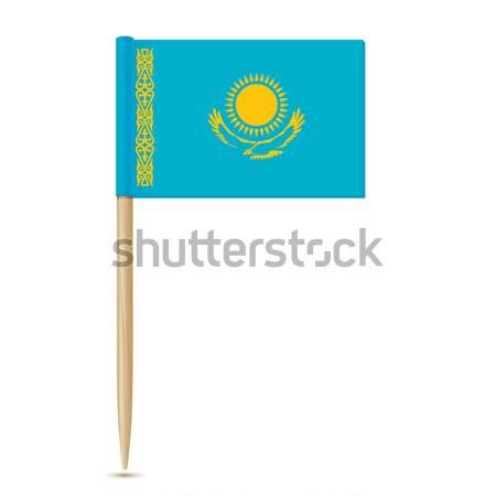 Bandeira Cazaquistão isolado branco fundo assinar Foto stock © sonia_ai
