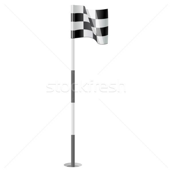 Golf zászló fekete szél fehér játék Stock fotó © sonia_ai