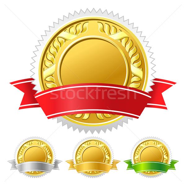 икона медаль знак синий красный победителем Сток-фото © sonia_ai
