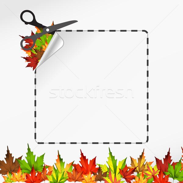 ножницы Cut наклейку осень лист вектора Сток-фото © sonia_ai
