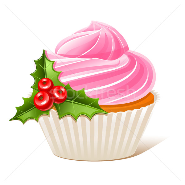 Cupcake with mistletoe Stock photo © sonia_ai