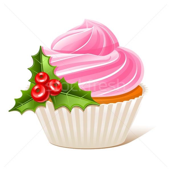Сток-фото: омела · белая · Рождества · продовольствие · фон · торт
