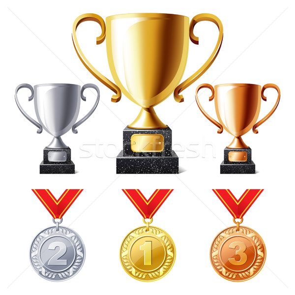 Stock photo: Trophy cups and medals