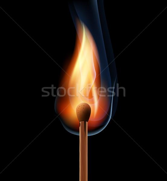 Brandend houten wedstrijd zwarte eps10 brand Stockfoto © sonia_ai