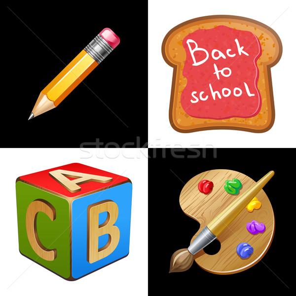 Снова в школу школы обед Jam карандашом палитра Сток-фото © sonia_ai