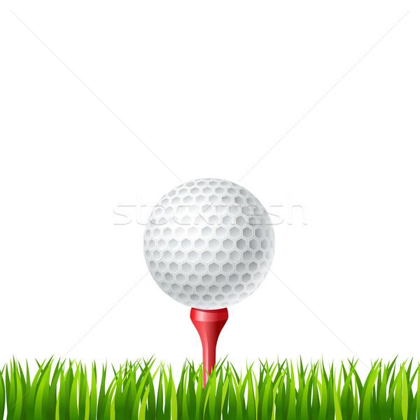 Pallina da golf illustrazione erba design verde rosso Foto d'archivio © sonia_ai