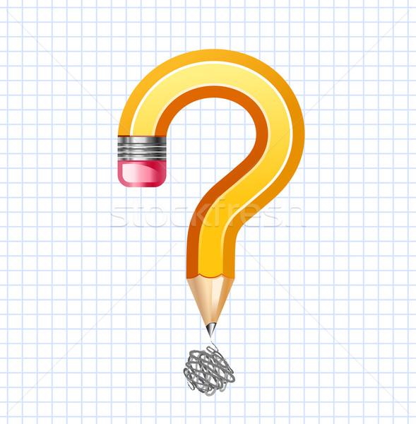 Vraag symbool potlood student nota Geel Stockfoto © sonia_ai