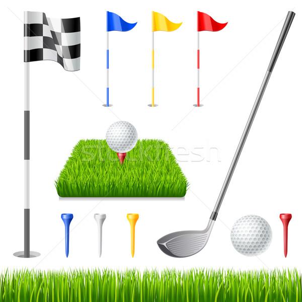 гольф клуба флаг мяч для гольфа зеленый Сток-фото © sonia_ai