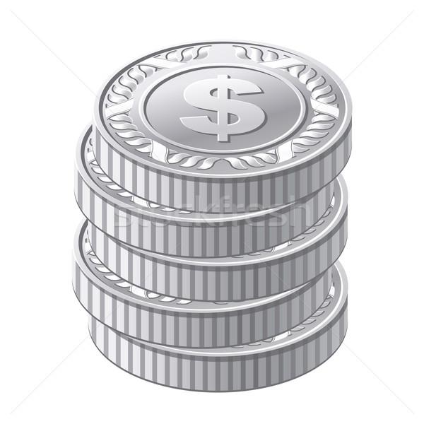 Ezüst érmék fém arany pénz dollár Stock fotó © sonia_ai