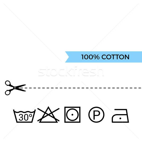 Orientar lavandería atención símbolos algodón tijeras Foto stock © sonia_ai