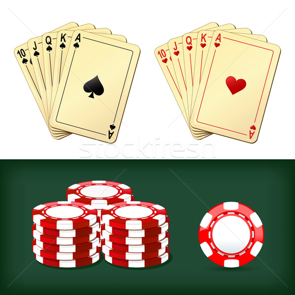 royal flush playing cards, chips casino Stock photo © sonia_ai