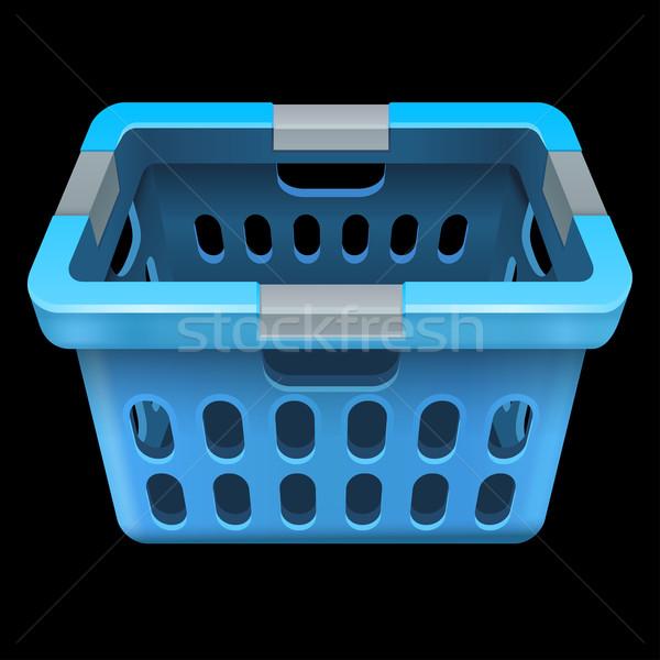 корзина для белья изолированный черный 10 прибыль на акцию синий Сток-фото © sonia_ai