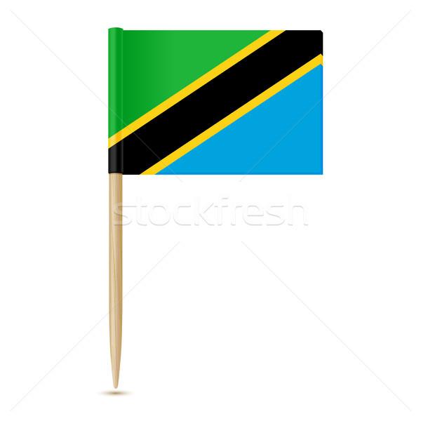 Stock fotó: Zászló · Tanzánia · fehér · papír · háttér · gyémánt