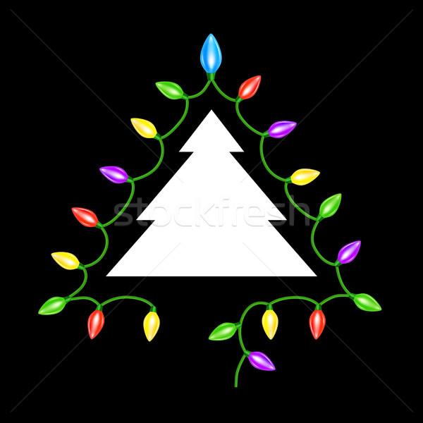árvore de natal grinalda luzes cartão projeto fundo Foto stock © sonia_ai
