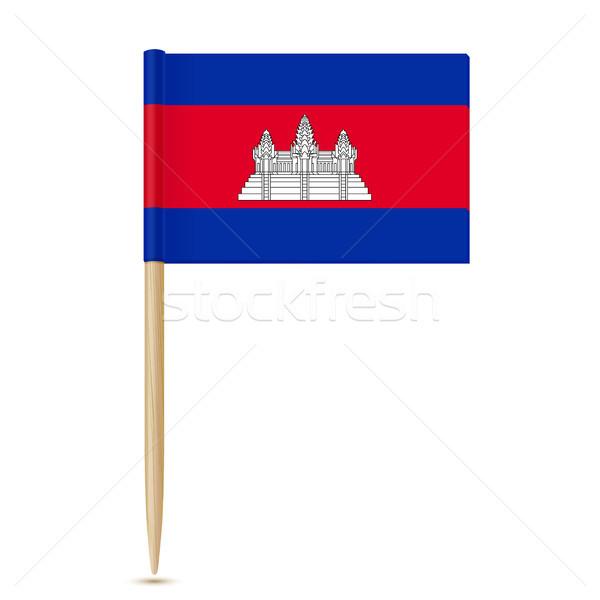 Vlag Cambodja witte achtergrond teken asian Stockfoto © sonia_ai