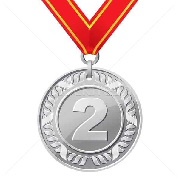 серебро медаль спорт металл знак лента Сток-фото © sonia_ai