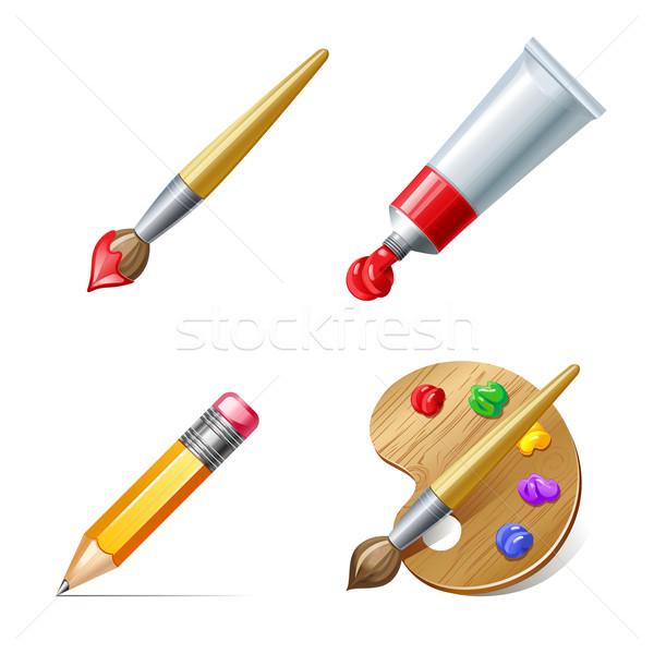 образование иконки карандашом палитра краской трубка Сток-фото © sonia_ai