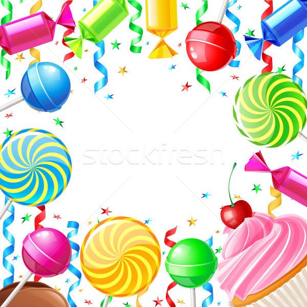 Сток-фото: рождения · конфеты · бумаги · вечеринка · торт · конфеты