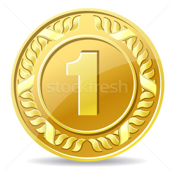 Gouden munt metaal succes cash dollar Geel Stockfoto © sonia_ai