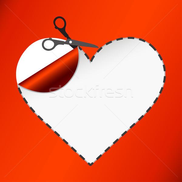 Scissors. Vector sticker. Heart Stock photo © sonia_ai