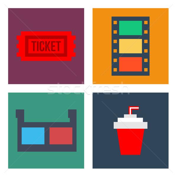 Film bioscoop iconen stijl ingesteld drinken Stockfoto © sonia_ai
