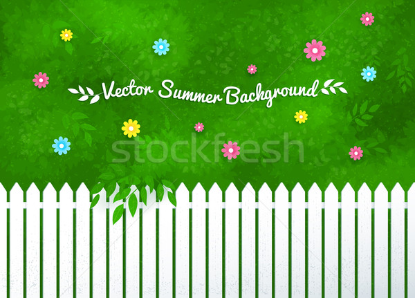 Blooming shrubs and white fence. Stock photo © Sonya_illustrations