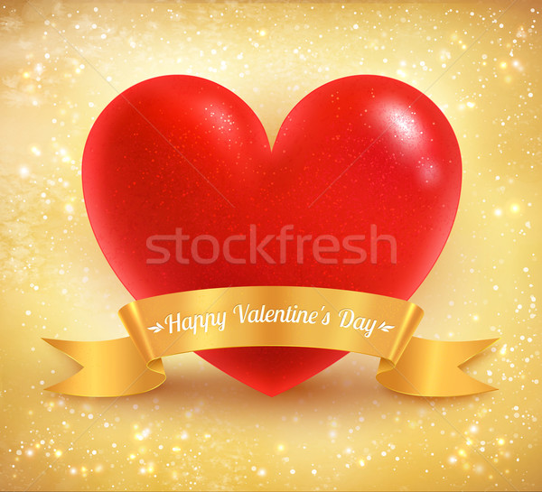 Valentine heart on gold background Stock photo © Sonya_illustrations