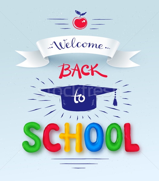 Back to School poster with plasticine letters Stock photo © Sonya_illustrations