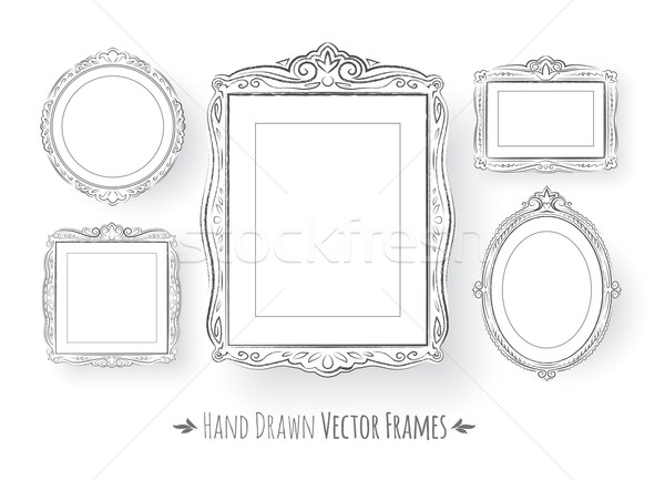 Vintage barok frames ingesteld achtergrond Stockfoto © Sonya_illustrations