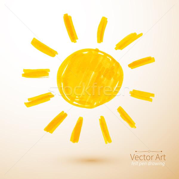 Sun. Felt pen drawing. Stock photo © Sonya_illustrations