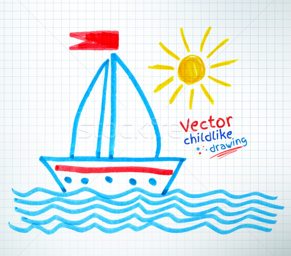 Childlike drawing of ship. Stock photo © Sonya_illustrations