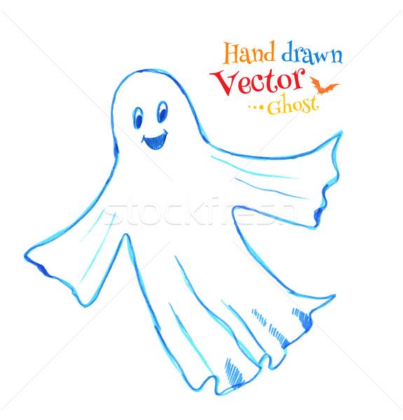 Bonitinho sorridente fantasma caneta desenho abstrato Foto stock © Sonya_illustrations