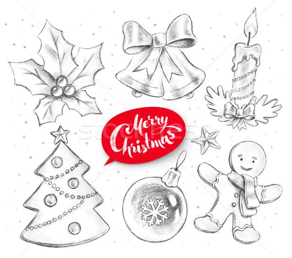 Potlood collectie christmas objecten grafiet Stockfoto © Sonya_illustrations